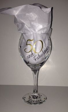 50 & Fabulous Wine Glass Personalized with the by SwearItDesigns