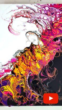 Acrylic Pouring Art, Acrylic Art, Pour Painting Techniques, Painting Lessons, Painting Tutorials, Flow Painting, Smart Art, Arte Pop, Diy Canvas Art