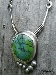 Turquoise Necklace Silver Necklace Turquoise Pendant by LjBjewelry