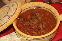 A ground beef chili, made with ground chuck, onion, peppers, basic chili seasonings, and beans.