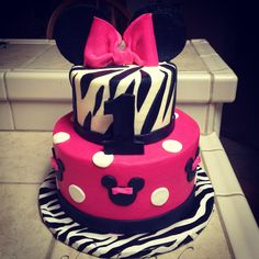 Zebra print Minnie Mouse hot pink cake My Party Creations