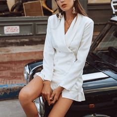 White double breasted blazer dress with flirty ruffle hem Business Casual Womens Fashion, Business Casual Dresses, Womens Clothing Stores, Clothes For Women, Casual Dresses For Teens, Crop Top Outfits, Casual Blazer, Blazer Dress, Double Breasted