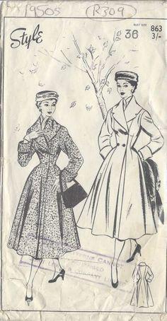 1950s Vintage Sewing Pattern COAT