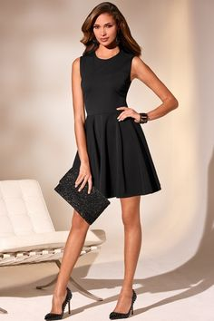 Ponte fit and flare dress in  from Boston Proper on shop.CatalogSpree.com, your personal digital mall.