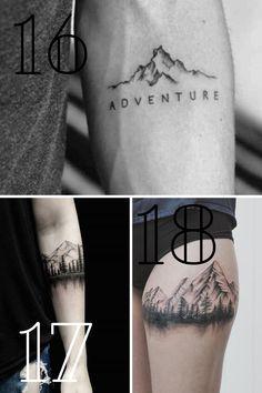 Small Mountain Tattoo, Geometric Mountain Tattoo, Mountain Tattoo Design, Lost Tattoo, Air Tattoo, Arm Cuff Tattoo, Ankle Tattoo, Dad Tattoos, Time Tattoos