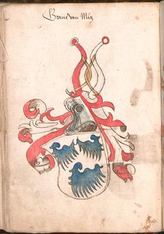 Wernigeroder (Schaffhausensches) Wappenbuch Süddeutschland, 4. Viertel 15. Jh. Cod.icon. 308 n Folio 38v Family Shield, Family Crest, Crests, Genealogy, Rooster, Animals, Image, Art, Animales