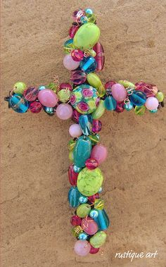 6 inch beaded wire Wall Cross inspiration