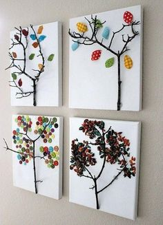"""Beautiful artwork, Reggio inspired Kira said, """"I wish we had more twigs outside to bring inside so we can make art with."""""""