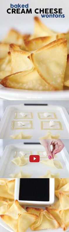 2 ingredient BAKED CREAM CHEESE WONTONS - so easy! Must try-