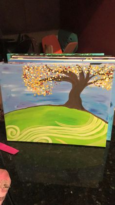 Knee slapper paint with me wine and canvas tree on a hill