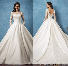 2017 New Arrival Amelia Sposa Sheer Long Sleeve Wedding Dresses Bateau Lace Appliques Satin Bridal Ball Gowns Ockets A-Line Wedding Dress Lace Luxury Illusion Online with $162.29/Piece on Hjklp88's Store   DHgate.com