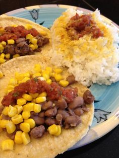 High carb low fat vegan dinner. Bean and corn tacos with rice. And a little salsa and nutritional yeast. No oil, no butter! Mcdougall Starch solution. Plant based.