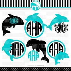Dolphin SVG Cut Files - Monogram Frames for Vinyl Cutters, Screen Printing, Silhouette, Die Cut Machines, & More