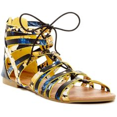 ANNA Brina Flat Sandal ($17) ❤ liked on Polyvore featuring shoes, sandals, yellow floral, open toe flat sandals, yellow sandals, floral shoes, floral flat shoes and lace up flat shoes