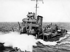 BAGLEY-class destroyer alongside HMAS HOBART to transfer mail and supplies in rough seas, southwest Pacific, August, Tin Can Sailors, Royal Dutch, Royal Australian Navy, Naval History, Navy Ships, United States Navy, Aircraft Carrier, Model Ships, Royal Navy