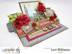 Graphic 45 Cityscapes designed by Lori Williams Easel swing card and tutorial
