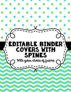 Editable Binder Covers with Editable Spine Labels! - $2.50