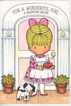 Vintage Joan Walsh Anglund Valentines Day Card Cat Strawberry Heart Cake Recipe   eBay