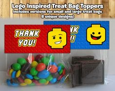Lego Inspired Treat Bag Toppers Lego Treat Bag Topper Lego Birthday Party Candy Bags