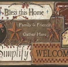 Welcome Friends Country Border Primitive Wallpaper Rustic Kitchen Star