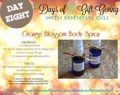 To order your essential oils: https://www.youngliving.com/signup/?isoCountryCode=US&sponsorid=1483174&enrollerid=1483174 Young Living Essential Oils: Orange Blossom Body Spray