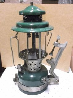 Vintage Green April 1953 Coleman Lantern 220E Plus clamping mounting bracket