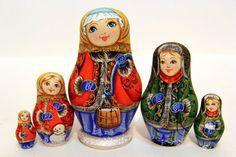 Russian Matryoshka 5p Varezhki handmade handpainted gift Matreshka wooden toy Nested Doll Free Shipping 6846