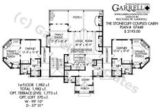 Stonecliff Couples Cabins Plan 07448, 1st Floor Plan, Mountain Style House Plans, Craftsman Style House Plans
