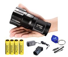 2015 Ver. Nitecore Tiny Monster TM26 4000 Lumen Search Light Ultimate Bundle: 4x Nitecore NL189 3400 mAH 18650 Batteries, Wall and Car Charger, a LumenTac(TM) Keychain Light -- This is an Amazon Affiliate link. To view further for this item, visit the image link.