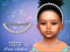 The Sims 4 Pearl Necklace For Toddlers Toddler Cc Sims 4, Sims 4 Toddler Clothes, Sims 4 Cc Kids Clothing, Sims 4 Mods Clothes, Toddler Girl, Los Sims 4 Mods, Sims 4 Game Mods, Sims 4 Piercings, The Sims 4 Bebes