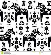 Swedish Folk Art Dala Or Daleclarian Horse Seamless Pattern In Black Stock Illustration - Illustration of scandinavian, pattern: 43427502 Scandinavian Pattern, Scandinavian Folk Art, Scandinavian Christmas, Scandinavian Embroidery, Horse Pattern, Pattern Art, Black Pattern, Folk Embroidery, Embroidery Patterns