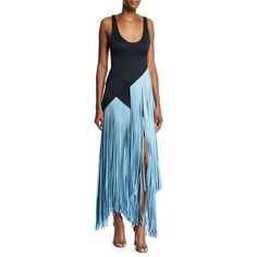 Galvan Carmen Tank Gown with Contrast Fringe ($2,395) ❤ liked on Polyvore featuring dresses, gowns, dark blue, blue sleeveless dress, long gown, long evening gowns, dark blue evening gown and long blue dress
