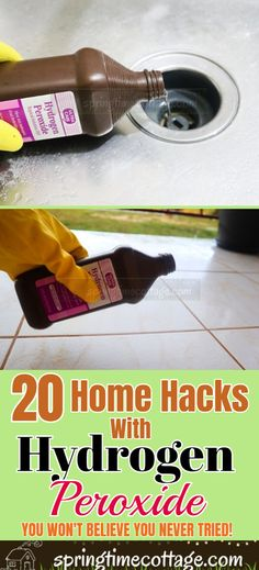 household hacks Hydrogen peroxide is a cleaner and a good alternative to most household chemicals sold on the market. Use hydrogen peroxide to clean all sorts of household items. Household Cleaning Tips, Cleaning Recipes, House Cleaning Tips, Spring Cleaning, Household Items, Cleaning Hacks, Cleaning Items, Household Cleaners, Cleaning Window Tracks