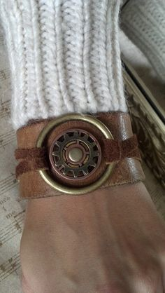 Unisex Brown Leather Ring and Gears Cuff bracelet by AlynneDesigns, $29.00