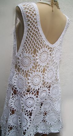 Style Wedding Dress, Simple Bridal gown with short sleeves, Midi, wrap, Crochet Cotton casual dress Blouse Au Crochet, Crochet Shirt, Crochet Cardigan, Pull Crochet, Crochet Motif, Knit Crochet, Crochet Patterns, Filet Crochet, Crochet Summer Dresses