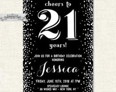 21st birthday party invitations for a guy or girl by Cloud9Factory