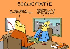 "Bereid je ook voor op de vraag:""Wat zijn je zwakke punten?"" Office Humour, Fun At Work, My Job, Funny Cartoons, Coaching, Comedy, Family Guy, Humor, Fictional Characters"