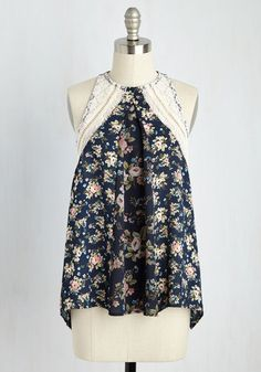 Adrift in Bliss Top. They say love is blind, and your love for this navy blue tank top has you aimlessly wandering in excitement! #multi #modcloth