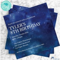 Outer Space Constellation Party Invitation; Birthday Party | 2-sided, 5x5 Square | Editable Digital Printable Template | Edit Online & Print Invitation Birthday, Party Invitations, 8th Birthday, Birthday Parties, Edit Online, Photo Look, Sweet Sixteen, Outer Space, Constellations
