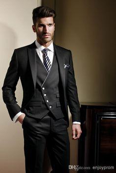 2015 Custom Made Groom Suit Formal Suit Wedding Suit For Men Groomsman Suit Men Suits Jacket+Pants+Tie+Vest Classic Fit Bridegroom Suit Cheap Suits Formal Wear From Enjoyprom, $83.67| Dhgate.Com