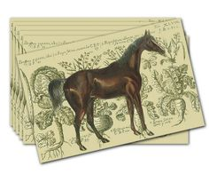 Equus Magnifico Placemat.Unique- reusable placemats features 19th century graphic of a bay stallion against a charming background. High quality with full, rich color printing on heavy paper, coated to resist water and easily wiped clean. Made USA. Set of 6