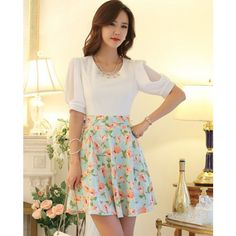 Floral Printed Fifth Sleeve Off-The-Shoulder Mesh Women's Skirt