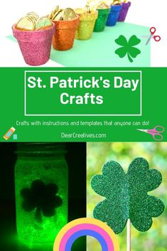 Patrick's Day Crafts these are fun and easy cr Create And Craft, Crafts To Make, Easy Crafts, Arts And Crafts, St. Patrick's Day Diy, Rainbow Crafts, Pot Of Gold, Luck Of The Irish, Adult Crafts