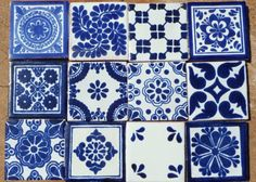 "12 Mexican Talavera Pottery 4"" Tile Hand Painted Blue White Venice Italy CD 