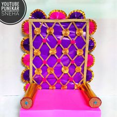 Ganpati Decoration At Home Diy Easy Eco Friendly Ganpati Decoration, Ganpati Decoration Design, Mandir Decoration, Thali Decoration Ideas, Ganapati Decoration, Diy Diwali Decorations, Home Wedding Decorations, Festival Decorations, Flower Decorations