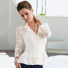 Our vintage inspired lace blouse is utterly gorgeous and a must-have for summer parties. With a lovely tier detail, this is a versatile style that will see you through the party season in style. With jersey camisole. Canada Shopping, Relaxed Outfit, White Tops, Mother Of The Bride, Fashion Models, Peplum, White Dress, Blouse, Lace