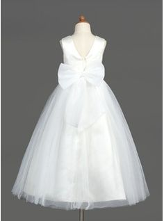 A-Line/Princess Scoop Neck Ankle-Length Organza Satin Tulle Flower Girl Dress With Beading Bow(s) (010005883) - JJsHouse