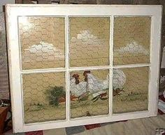 Recycling old windows add chicken wire and a painting behind you could even add Hooks and hang pot holders for pots from it in your kitchen pane ideas with chicken wire Antique Windows, Old Windows, Windows And Doors, Window Pane Art, Old Window Frames, Window Ideas, Old Window Projects, Cottage Windows, Chicken Art