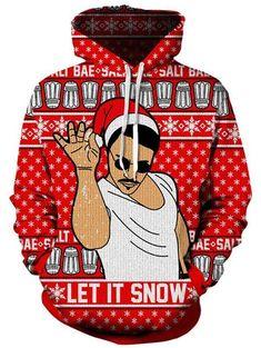 61cb4c600d078f Christmas Salt Bae hoodie for men let it snow geometric red pullover