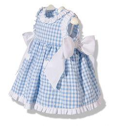 Precioso vestido de verano para bebe niña en cuadros vichy azul y blanco infanil